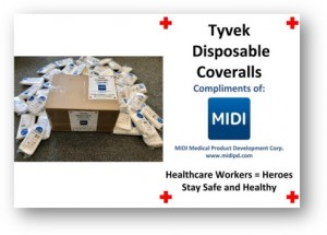 MIDI DONATES TYVEK DISPOSABLE COVERALLS PHOTO